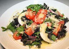 When you need an easy but healthy dinner, try this salad. It's delicious and creamy, and makes for a great way to enjoy those nutrient-packed dark green leafy vegetables and other healthy produce. Try using the delicious dressing as a dip with any combination of your favorite vegetables! It can even be used as a dipping sauce, too. If you like tahini dressing, you can also try our Hail to Kale Salad.
