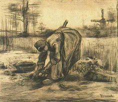 Vincent van Gogh, Een boerin die aardappels rooit, zomer 1885, (opschrift: Arracheuse de pommes de terre), houtskool en zwart krijt, Van Gogh Museum, Amsterdam
