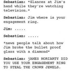 Even psychopaths have a love life. And this one is especially adorable. Is it bad I ship Moriarty and seb? Jim Moriarty, Sherlock John, Bbc Sherlock Holmes, Quotes Sherlock, Sherlock Fandom, Watson Sherlock, Johnlock, Destiel, Andrew Scott