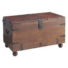 Ridgeway Trunk with Wine Storage | Pier 1 Imports This little piece has so much personality, would be great as a little coffee table. Wouldn't want to store wine this way, though.