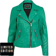 Green leather quilted panel biker jacket - leather / leather look jackets - coats / jackets - women