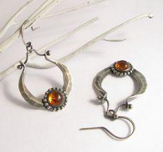 Pendientes de ámbar Metalsmith joyas de plata por Mocahete en Etsy