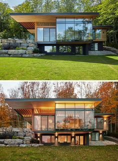 Architecture Discover A Contemporary Cottage With A Cantilevered Roof Overlooks A Lake In Canada The strongest feature of this modern cottage is the cantilevered roof sheltering the area between the living space and the outdoor terrace. Contemporary Cottage, Modern Cottage, Modern Lake House, Modern Contemporary Homes, Modern Homes, Contemporary Architecture, Modern Wall, Roof Design, Exterior Design