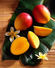 Image detail for -Still life with ripe mango, tropical Hawaiian fruit, sectioned and whole B1119