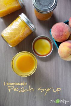 Homemade Peach Syrup.  I don't like peach syrup.  Usually.  This is amazing!  And, I like that it is sweetened with honey.