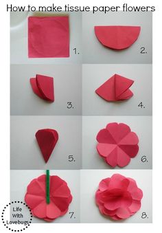 Making paper flowers with children – Beautiful ideas and craft instructions - ORIGAMI Paper Flowers Craft, Tissue Paper Flowers, Paper Flower Wall, Flower Crafts, Diy Flowers, Fabric Flowers, Dahlia Flowers, Paper Roses, Diy Paper
