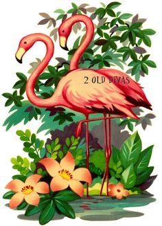 1950s Retro Pink Bathroom Flamingo Decals by 2olddivas on Etsy