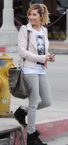 e1ef14dc2973 Ashley Tisdale wearing Isabel Marant Bekket Sneakers Givenchy Pandora Billy  Messenger Bag Iro Leather Jacket in Pink Rose Eleven Paris Kate Moss  Moustache ...