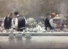 Artist: Joseph  Zbukvic - Title: Baristas At Brunettis ( H 75 cm X W 50 cm)