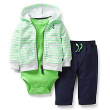 Carter's Boys 3 Piece Striped Hooded Zip Up Terry Cardigan, Bodysuit, and Terry Pant Set