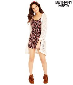 Adorbs! Cream Colored Sheer Cocoon Sweater - Bethany Mota Summer Collection at Aeropostale