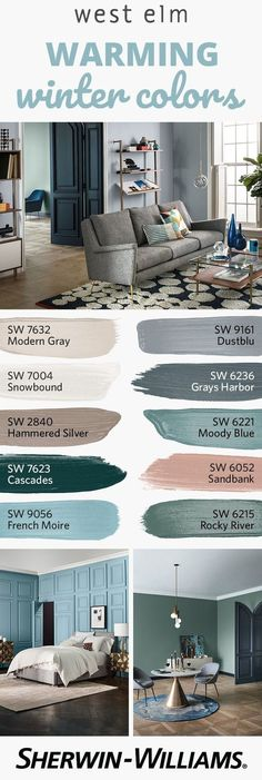 As it gets cold outside, bring some warmth inside with the colors of the west elm Fall/Winter 2017 palette. Perfect for doors, trim, accent walls and more, this collection features 12 neutral-forward Room Paint Colors, Paint Colors For Living Room, Interior Paint Colors, Paint Colors For Home, Decor Interior Design, House Colors, Bedroom Colors, Interior Modern, Western Paint Colors