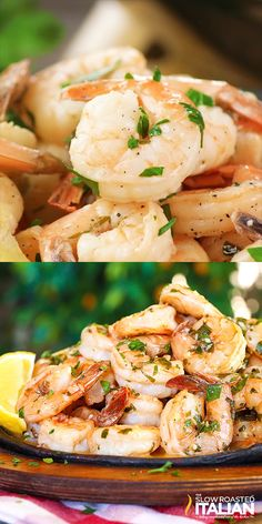 Lemon-garlic shrimp is bursting with flavor, truly better than any restaurant. A one-skillet meal, made in just 20 minutes, this is the recipe you are not going to want to pass up. A silky lemon butter sauce is served over succulent shrimp, cooked Fish Recipes, Seafood Recipes, Cooking Recipes, Pasta Recipes, Bbc Recipes, Cooking Corn, Recipe Pasta, Seafood Appetizers, Cooking 101