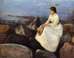 Summer Night Inger on the Shore 1889 - by Edvard Munch