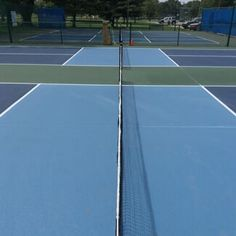 I have been thinking about installing a tennis court in my backyard. It would be smart to choose colors like these. That way it won't get too hot in the summers.