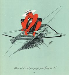 """""""Dire qu'il n'est pas payé pour faire ça !!"""" - Silhouettes Fantaisistes par Maurice MARAIS - 3ème série - planche 31 - MAS Estampes Anciennes - MAS Antique Prints"""