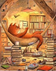 Fantasy a Sci-fi: Taverna neboli Diskuzní fóra: Vše o knihách I Love Books, Books To Read, My Books, Illustrator, Cat Reading, World Of Books, Book Images, Book Nooks, Children's Book Illustration