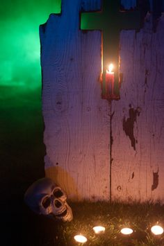 candle in tombstone