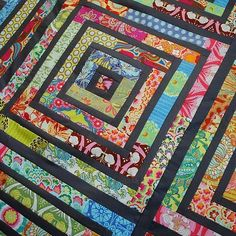 Amy Butler fabric jelly roll quilt, now I know what to do with my fabrics! Im not into quilts, but this I would do Patchwork Quilting, Jellyroll Quilts, Scrappy Quilts, Baby Quilts, Amish Quilts, Quilting Projects, Quilting Designs, Quilting Ideas, Quilting Tutorials