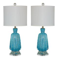 Classic Bedside Murano Lamps from the 1940s by A.V.E.M.  Italy  1940s  Vintage Murano lamps such as these were commonly seen at bedside or vanity back in the day - but not in this color. We have all seen them in pink, purple, or gold. But this color is as beautiful as it is rare. I call it Paul Newman Blue - you can just get lost in it (loved him in Hud)!    The glass is ribbed, very thick, and heavy. Oh - and loaded with silver flakes With the blue and the silver flakes we used nickel…