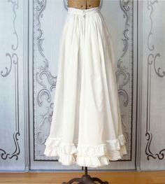 Vintage Victorian Petticoat   Antique White Cotton Under Skirt   Gathered Waist   Tiered Ruffle Hem   Lace Trim   Long Cotton Slip   Size XS by MinkyVintage on Etsy
