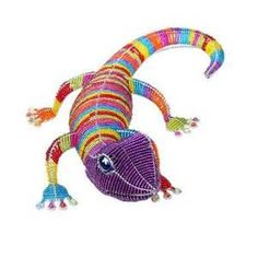 Raibow Lizards made our of beads..