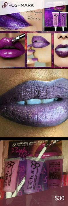 Obsessive Compulsive Cosmetics Trio ? LIP TARS ~ PURPLE REIGN 3pc. Set ? 1 MATTE, 1METALLIC, 1STAINED GLOSS  ?Colors are LOVECRAFT, ROLLER GIRL & DEKADENT (Dark, Med & Light PURPLES) ?Comes in a 3 slot, plastic zip case with instructions and an OCC applicator brush *This sells for $40-$50. HERE it is $30! Obsessive Compulsive Cosmetics Makeup Lip Balm & Gloss