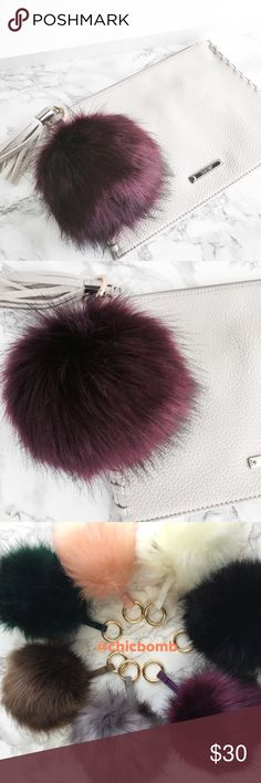 "Super size POM POM . Faux fur charm keychain. Super XL. 5"" fur ball. length 75.5""in royal purple amethyst CHICBOMB Accessories Key & Card Holders"