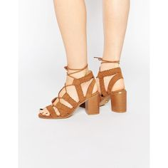 Oasis Lace Up Block Heeled Sandal (85 AUD) ❤ liked on Polyvore featuring shoes, sandals, tan, open toe sandals, tan strappy sandals, strappy high heel sandals, strappy sandals and high heel sandals