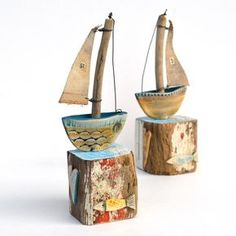 Driftwood boats by Shirley Vauvelle - CoastalHome.co.uk: Driftwood