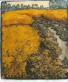 """Weide met koren"" (Meadow with corn), by Arie Zonneveld, (Dutch, 1905-1941)."