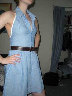 DIY Clothes DIY Refashion DIY Men's Button-Down Turned Summer Dress