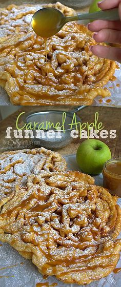 - Basic funnel cake mix is spiced with cinnamon and pumpkin pie spice. Finely dice… Basic funnel cake mix is spiced with cinnamon and pumpkin pie spice. Finely diced apples, powdered sugar and caramel sauce makes this a unique fall dessert! Köstliche Desserts, Delicious Desserts, Dessert Recipes, Cake Recipes, Apple Desserts, Apple Recipes, Crockpot Recipes, Cooking Recipes, Churros