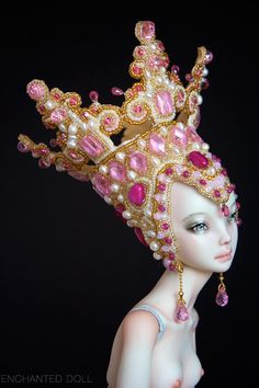 An Enchanted Doll by Russian porcelain artist, Marina Bychkova. Each detailed sculpture is created by hand beginning with the molds for the porcelain head, body & limbs, to the exquisite costumes & accessories. Blythe Dolls, Barbie Dolls, Marina Bychkova, Enchanted Doll, Pink Crown, 3d Fantasy, Polymer Clay Dolls, New Dolls, Little Doll