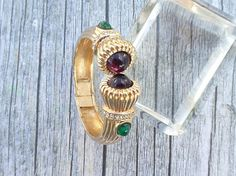 Signed CINER hinged bangle clamper bracelet purple and green