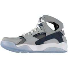 6d5a4cb582f2b Men s Nike Air Wolf Gray Navy Blue Flight Huarache Basketball Shoe
