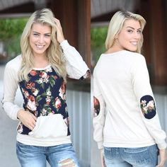 Lovely Floral Long Sleeve Pocket Shirt