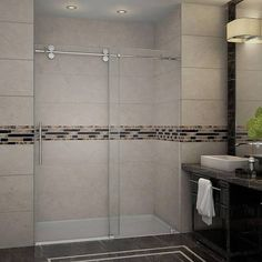 sliding shower door curbless shower - Google Search