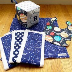Baby R's dad loves all things space! Handmade Baby Gifts, Baby Boy Gifts, Lovey Blanket, Clothes Line, Personalized Baby, Burp Cloths, Baby Bibs, Constellations, Planets