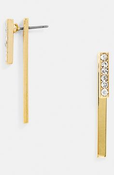 Modern twist on sparkly crystal drop earrings.