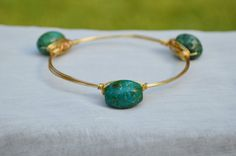 Wire Wrapped Teal Turquoise Oval Bead Bangle Bauble Bracelet