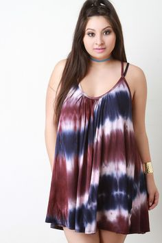 Tie Dye Criss Cross Back Mini Dress