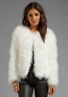LINE & DOT Marabou Faux Fur Jacket in White - Jackets & Coats