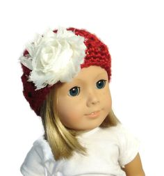 18 Inch Doll Accessories Hat Red White Flower by PreciousBowtique, $5.00