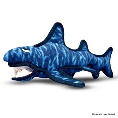 Company Of Animals Tuffy Shark Great fun throw it and your dog will love bringing it back For interactive play with one or more dogs This toy will entertain dogs who like to whip their toys and play fetch for hours! Easy to toss and floats! Soft edges won't hurt gums