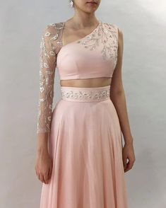Blush lehenga with one-sleeve floral embroidered blouse ~ Winter Wonderland ~ Shop now Indian Wedding Outfits, Indian Outfits, Indian Designer Outfits, Designer Dresses, Lehnga Dress, Gown, Stylish Blouse Design, Blouse Neck Designs, Lehenga Designs