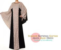 FREE SHIPPING! Lightweight Summer Batwing Kaftan Long Sleeved Abaya Maxi Dress - Free Size S/M/L 4874 by Tailored2Modesty on Etsy
