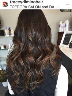 Chocolate brown hair color, brunette , shiny hair, long hair ideas, curls, waves, warm brown, dark brown hair, highlights, balayage, brown balayage, chocolate balayage, caramel highlights