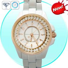 Girls White Analog Bling Diamond Watch with Gold Rim and Stainless Steel Backing