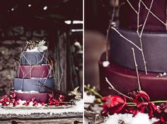 WINTER WEDDING IDEAS: RED + PURPLE INSPIRATION *Not my cake, but my colors + black & white*